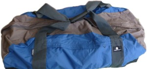 the half-full blue duffel