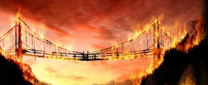drawing of a burning bridge