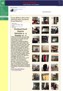 screen shot of estate sale website