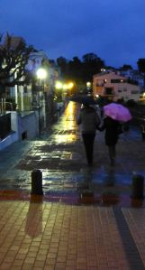 Vicens & Jeanette walk in the rain