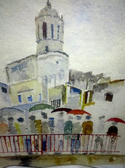 Steve Brown's watercolor of the Girona cathedral in the rain.