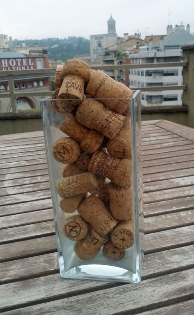 cava corks in a bottle