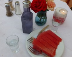 Raki and watermelon for dessert!
