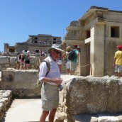 Tom examines the ruins.