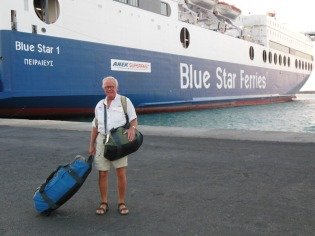 The Blue Star ferry from Heraklion to Pireas. The bandy-legged tourist in the foreground wouldn't step out of the picture.