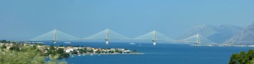The Patras Bridge spanning the Gulf of Corinth, seen from the Heraklion-Patras bus.