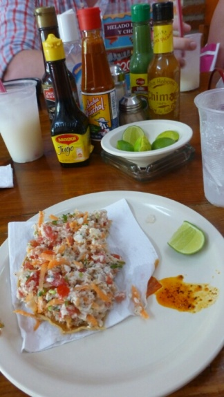 Fresh ceviche and a zillion sauces. Mouth, be ready!