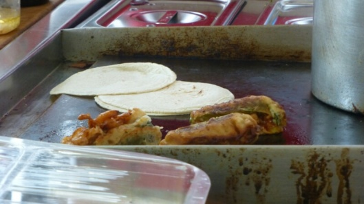 Chili rellenos and fresh tortillas. Yum!