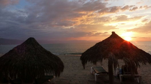 Our palapa at sunset