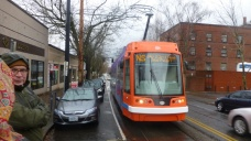 The Portland Streetcar arrives to take us downtown