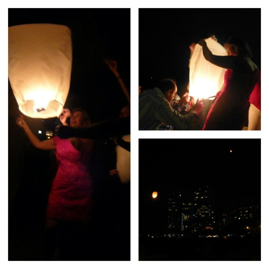 Sky lanterns on the beach
