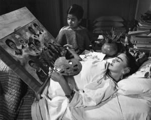 Many of Frida's paintings were painted while she was bedridden