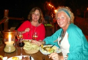 Marcia and Louise feast on dinner at Las Caletas