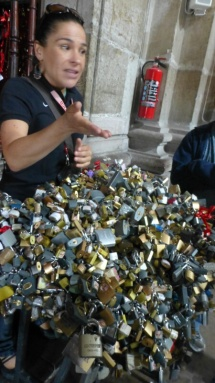 Our guide Vicky explains the meaning of thousands of Nonato padlocks.