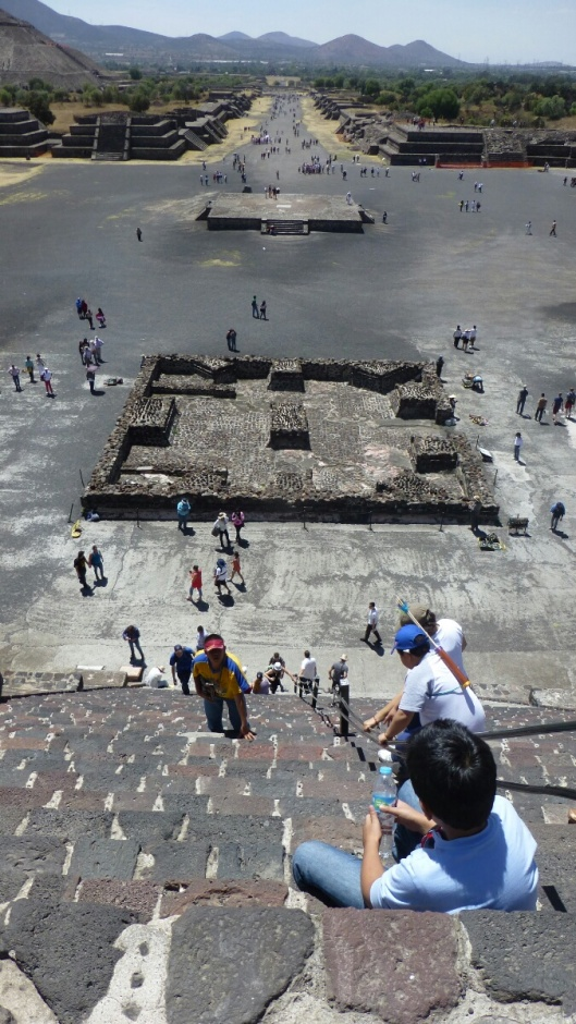 Looking down the stairs from the Pyramid of the Moon.  The long street is the Avenue of the Dead.