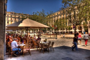 Our favorite cafe on the Plaza Independencia, Girona, Spain.