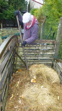 Stirring the compost