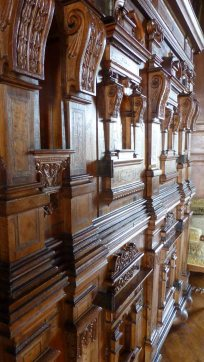 Carved wood cabinet in the living room