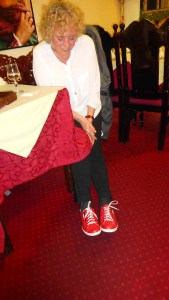 Louise models her new red Mephisto sneakers