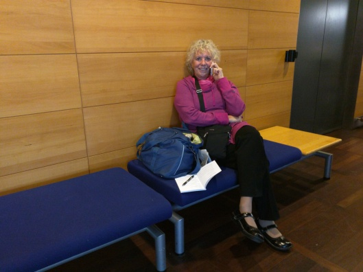 Louise on the phone in the Copenhagen Airport.