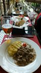 Beef stroganoff and beer at the Armani restaurant