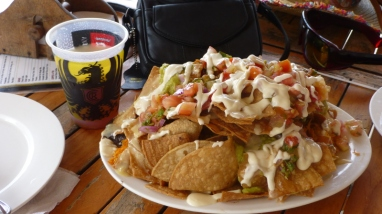 This is a half order ($8) of nachos. We couldn't eat it all.