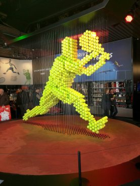 "A clever display in the Peugeot showroom celebrating their ""Drive to Tennis"" campaign"