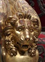 Terrified lion on Emperor Napoleon's throne