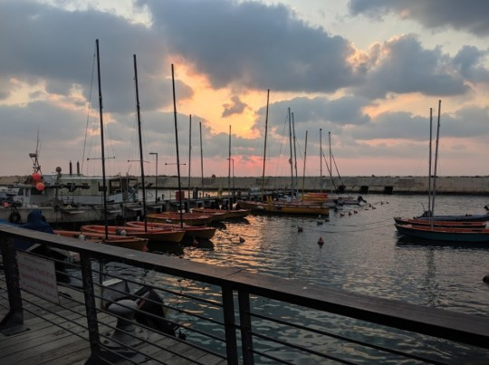 sunset in Jaffa Port